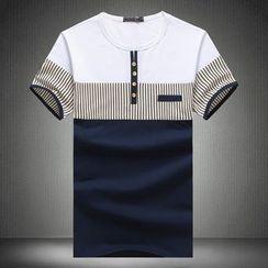 Blueforce - Striped Panel Short Sleeve Henley T-Shirt
