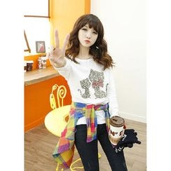 Dodostyle - Long-Sleeve Cat-Print Top