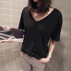 NANING9 - V-Neck Short-Sleeve T-Shirt