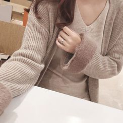 DAILY LOOK - Faux-Fur Trim Wool Blend Cardigan
