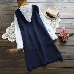 YOYO - Mock Two-Piece Striped Dress