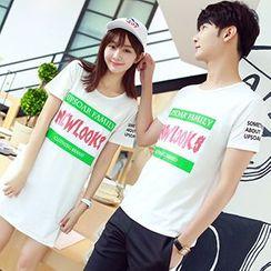 Azure - Couple Matching Lettering Short Sleeve T-Shirt / T-Shirt Dress
