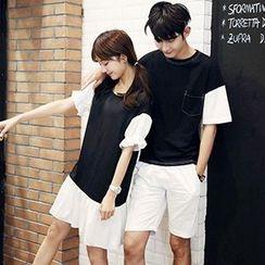Azure - Couple Matching Contrast Color Short Sleeve T-Shirt / T-Shirt Dress