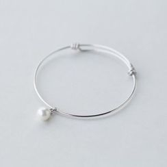 A'ROCH - 925 Sterling Silver Pearl Sterling Silver Open Bangle