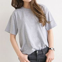 Seoul Fashion - Round-Neck Short-Sleeve T-Shirt