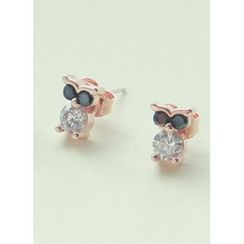 kitsch island - Rhinestone Owl Earrings