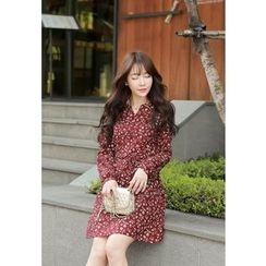 MyFiona - Drawstring-Waist Flower Patterned Dress