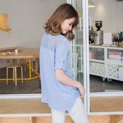 OrangeBear - Tab-Sleeve Check Sheer-Panel Blouse