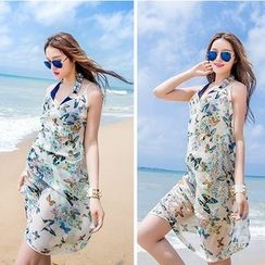 Agisnow - Floral Scarf Beach Cover-Up