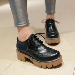 Shoes Galore - Block Heel Platform Brogue Oxfords