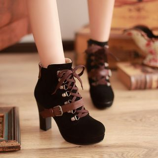 Megan - Lace-Up Buckled Ankle Boots