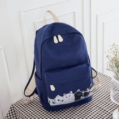 VIVA - Cat Print Canvas Backpack