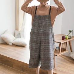 Nycto - 格纹针织背带七分裤