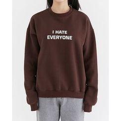 Someday, if - Lettering Brushed-Fleece Lined Sweatshirt
