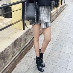 Seoul Fashion - Wrap-Front Gingham Mini Skirt