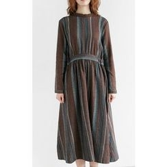 Someday, if - Striped Cotton Long Empire Dress