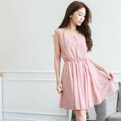 东京著衣 - 无袖雪纺连衣裙