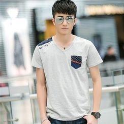 SOLER - Panel V-neck Short-Sleeve T-shirt