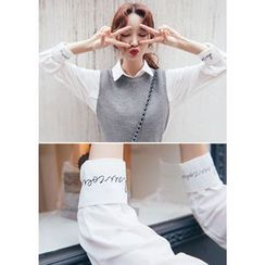 Chlo.D.Manon - Lettering-Embroidered Shirt