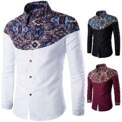 Blueforce - 圖案拼接長袖襯衫