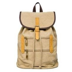 Mr.ace Homme - Leather-Trim Flap Buckled Backpack