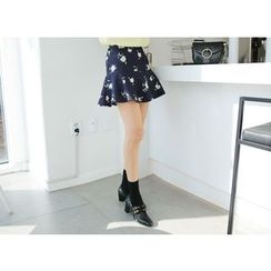 Envy Look - Floral Pattern Ruffle-Hem Mini Skirt