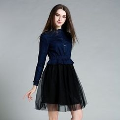 Cherry Dress - Long-Sleeve Denim Mock Two Piece Dress