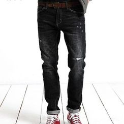 Simwood - Distressed Washed Slim Fit Jeans