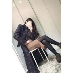 ATTYSTORY - Notched-Lapel Plaid Coat with Sash