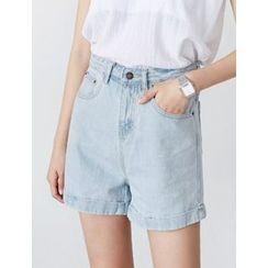 FROMBEGINNING - High-Waist Cuff-Hem Denim Shorts