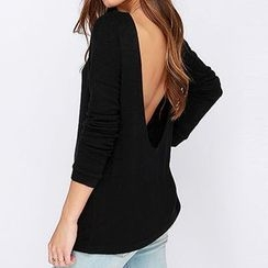 Eloqueen - Long-Sleeve Cutout-Back Top
