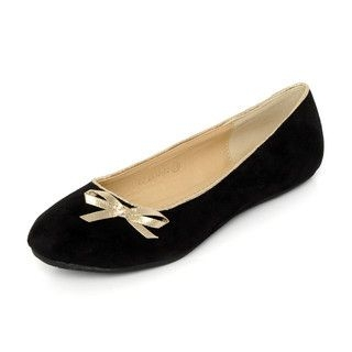 YesStyle Footwear - Glitter Trim Bow-Accent Flats
