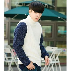 ABOKI - Turtle-Neck Sleeveless Sweater