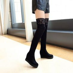Pretty in Boots - Lace Trim Hidden Wedge Over-the-Knee Boots