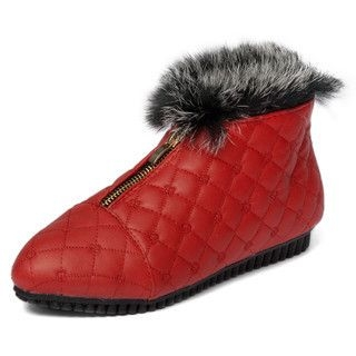 yeswalker - Faux Fur Trim Quilted Ankle Booties
