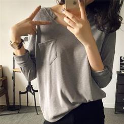 菲兒 - 长袖胸袋上衣