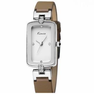 Miss Girl - Rhinestone Genuine-Leather Strap Watch