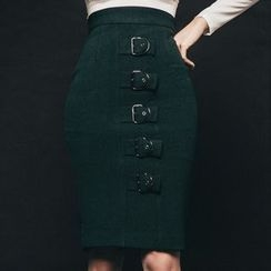 Aurora - Buckled Pencil Skirt