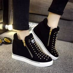 YIVIS - Studded Hidden Wedge Zip Sneakers