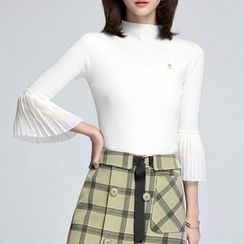 Sentubila - 3/4 Bell Sleeve Knit Pullover