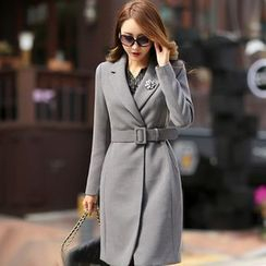 Styleonme - Notched Lapel Coat with Belt