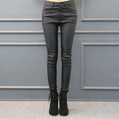 DANI LOVE - Coated Brushed-Fleece Lined Skinny Pants