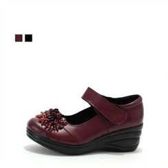 MODELSIS - Genuine Leather Mary Jane Wedge-Heel Pumps