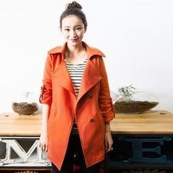 AnnShow - Tab-Sleeve Shirred Trench Coat