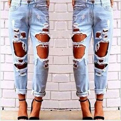 Kasumi - Heavy Distressed Straight Fit Jeans