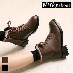 Wifky - Faux-Fur Lined Lace-Up Short Boots