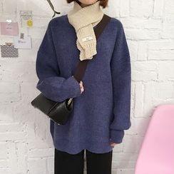 YUKISHU - Plain Long Rib-Knit Sweater