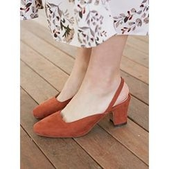 FROMBEGINNING - Sling-Back Faux-Suede Pumps