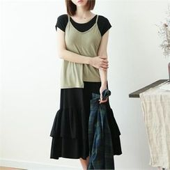 GLAM12 - Set: Sleeveless Asymmetric Top + Ruffle-Hem Long Dress
