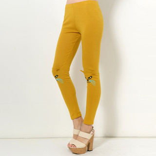 59 Seconds - Ear-Detail Cat Embroidered Leggings